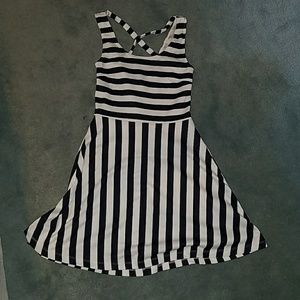 H&M navy and white stripe dress